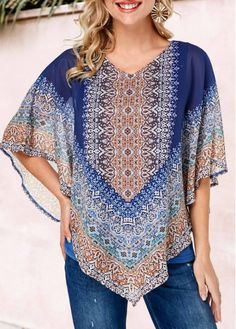 Women Blouse Designs, Women Blouses And Tops, Formal Blouses For Women Page 5 Trendy Tops For Women, Blouses For Women, Formal Blouses, Royal Blue Blouse, Tribal Prints, Printed Blouse, Half Sleeves, Blouse Designs, Shirt Blouses