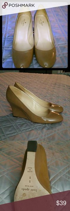 Kate Spade Tan Patent Leather Wedge Pumps Gently worn and in great condition. Pumps are great for summer work attire and go with everything! kate spade Shoes Wedges