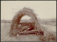 Chemehuevi man resting in a sun shade - circa 1900