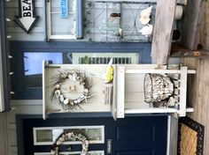 Old door made into a entryway shelf. add hooks for a coat hanger Entryway Shelf, Old Doors, Coat Hanger, Showroom, Ladder Decor, Hooks, My House, Decorating Ideas, Shelves