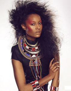"crystal-black-babes: ""Dani Evans - Danielle Evans - Beautiful Black Women from USA Black Models from Canada African Inspired Fashion, African Men Fashion, Africa Fashion, Tribal Fashion, African Beauty, African Women, African Hair, African Accessories, African Jewelry"