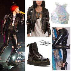 Coyote Biker Jacket by The Ragged Priest (£225.00); holographic Plur Crop Top by UNIF ($48.00); shiny black Latex Leggings by Syren Latex ($150.00); Jadon 8-Eye Platform Boots by Dr. Martens ($170.00).