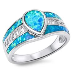Blue Simulated Opal Greek Key Inlay Ring New .925 Sterling Silver Band Size 8 (RNG14101-8)