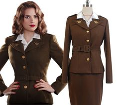 Captain America: The First Avenger Agent Peggy Carter Suit Cosplay Costume from  Captain America