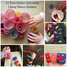 Using Velcro Rollers for Fine Motor Skills Development for kids from Lalymom loved the puppet idea