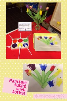 Painting tulips using forks. EYFS