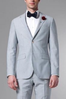 The Ultimate Blue Seersucker Suit Mens Attire, Mens Suits, Made To Measure Suits, Seersucker, Well Dressed, Custom Clothes, Summer Collection, Custom Made, Men Dress