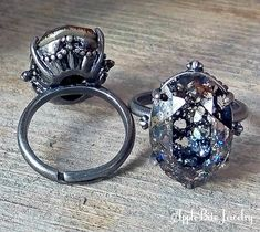 Black Patina Swarovski Crystal Ring
