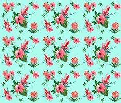 Tropical Hibiscus  fabric by shopcabin on Spoonflower - custom fabric