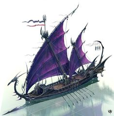 Duskari Glaive ships silently cut through the water to distant shores for conquest and raids. They collect goods and people to return to the dark lands from whence they came. Fantasy Concept Art, Fantasy Map, Medieval Fantasy, Fantasy Artwork, Fantasy World, Dark Fantasy, Warhammer Dark Elves, Warhammer Fantasy, Elfen Fantasy