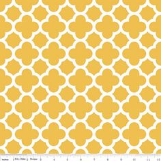 This listing is for a NEW Riley Blake mustard yellow and white, quatrefoil fabric. This fabric has a 2 inch pattern repeat. This fabric is great for
