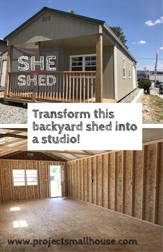 Backyard Studio, Backyard Sheds, Outdoor Sheds, Guest House Shed, Shed To Tiny House, Shed Hangout Ideas, Shed Interior, A Frame House Plans, Studio Shed