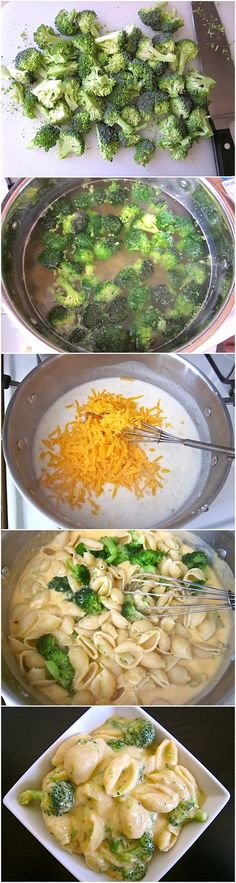Broccoli shells and cheese: exceptionally simple and looks tasty.  8 oz. pasta; 1 lg. crown broccoli; ½ med onion; 3 Tbsp butter; 3 Tbsp all-purpose flour; 2.5 cups milk; 8 oz. (2 cups) sharp cheddar, shredded ¼ cup grated parmesan; 1 tsp hot sauce (optional). Fast meal. Vegetarian.