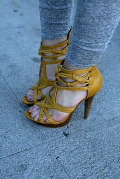 These Bebe braided leather platform heels are hot! Karla Deras, Yellow Sandals, Yellow Heels, Buy Shoes, Me Too Shoes, Mustard Shoes, Shoe Boots, Shoe Bag, All About Shoes