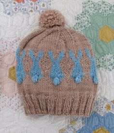 Blue Rabbit Hat by Mel Clark