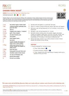 Tinga Tacos Recipe, Chicken Tinga Recipe, Chicken Recipes, 21 Day Fixate Recipes, 21 Day Fix Recipies, Health Recipes, 21 Day Fix Snacks, 21 Day Fix Diet, Fixate Cookbook