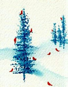 Red Cardinals around the Evergreens♡