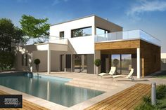 """Modèle de maison toit terrasse """"Bermudes"""" par  Demeures Caladoises Design, constructeur de maisons contemporaines à Lyon"""