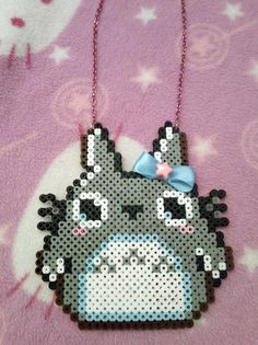 My Neighbor Totoro Necklace made from perler beads!!!  Aislin will die when I show her this!