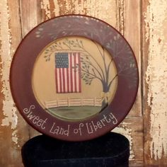 Decorative Plates - Plate Stands, Country Primitive Decor, Painted