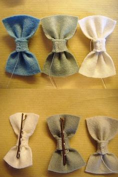 DIY felt bows - hot glue a bobby pin to the back for a girl's hair clip, or attach to a present...but not felt