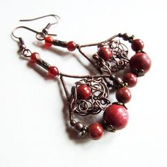 autumn queen earrings  adorable organic wire wrapped by KicaBijoux, $39.00