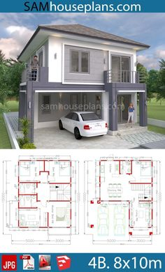 House Plans with 4 Bedrooms. This villa is modeling by SAM-ARCHITECT With Two stories level. It's has 4 bedrooms.Simple Home Design Four Bedroom House Plans, 4 Bedroom House Designs, Duplex House Plans, House Layout Plans, Family House Plans, House Layouts, Small Modern House Plans, Small House Floor Plans, Simple House Plans