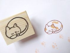 Sleeping cat stamp Little cat Cat lover by JapaneseRubberStamps, £5.00