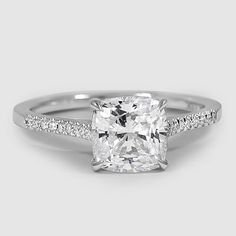 18K White Gold Lissome Diamond Ring / Set with a 1.21 Carat, Cushion, Very Good Cut, D Color, VS2 Clarity Diamond #BrilliantEarth