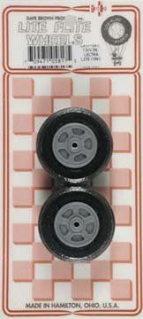 """Dave Brown Products Treaded Lectra Lite Wheels, 1-3/4"""" by Dave Brown Products. $4.19. This is a pair of DAVE BROWN treaded LECTRA LITE wheels good for use on electric powered airplanes or any other plane where weight is a factor. Injection molded snap-together hubs which are light gray in color Light-weight, low-bounce durable foam ribbed tread tires Hubs are a spoke-like design. Save 20%!"""