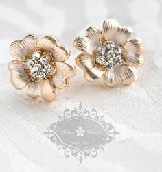 Bitter Sweet Jewellery. Bridal Collection. #GoldPlated #Gold #rhinestone #CZ #Earrings #stud #crystal #WeddingJewelry #floral #sparkle #elegant #unique #delicate
