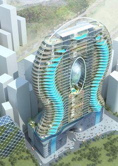 Architect James Law en aannemer Wadhwa Group willen deze gigantische wolkenkrabber gaan bouwen in Mumbai. Elk van de 200 appartementen krijgt een zwembad op het balkon, met doorzichtige wanden.
