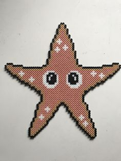 Søstjerne Pearler Bead Patterns, Perler Patterns, Pearler Beads, Fuse Beads, Hama Beads Animals, Beaded Animals, Perler Bead Mario, Beaded Starfish, Hama Beads Design
