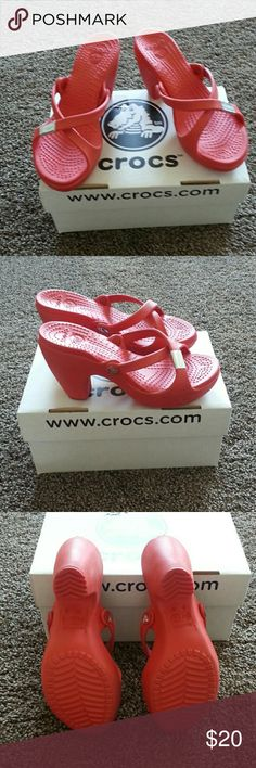 Crocs heeled sandles Beautiful summer color corol, box calls it scarlet.  Never worn except in store to try on.  3 1/2 inch heel. CROCS Shoes