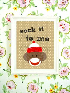 Sock it to Me Sock Monkey Nursery Boy Red and by PrinsCharming, $3.99