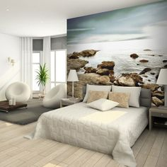 Get inspired by Coastal Bedroom Design photo by Wayfair. Wayfair lets you find the designer products in the photo and get ideas from thousands of other Coastal Bedroom Design photos. Beach Wallpaper, Photo Wallpaper, Stone Wallpaper, Wall Wallpaper, Coastal Bedrooms, Bedroom Photos, Unique Wall Art, Wall Murals, Bedroom Decor