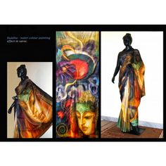 Bishnupur Sonamukhi Silk Hand Painted Saree Buddha Water Color Painting Effect in Saree - Online Shopping for Silk Sarees by Crystelle Boutique