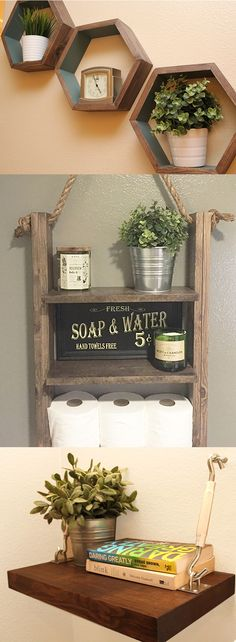 Updating your home - Check out out rustic decor on sale now. Bathroom Shelf, Wall Storage, Nightstands, and more!