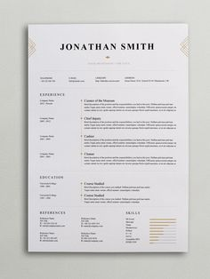 Elegant Resume Template (Word, PSD) If you like this cv template. Check others on my CV template board :) Thanks for sharing! Resume Layout, Resume Format, Resume Writing, Portfolio Web, Portfolio Resume, Graphic Design Resume, Cv Design, Report Design, Design Trends