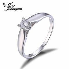 Jewelrypalace 925 sterling zilver 0.2ct zirconia solitaire verlovingsring voor meisje mode eenvoudige sieraden voor vrouwen ring