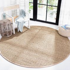 Round Area Rugs, Modern Area Rugs, Natural Fiber Rugs, Natural Rug, Rug Under Kitchen Table, Kitchen Area Rugs, Seagrass Rug, Natural Flooring, Cool Rugs