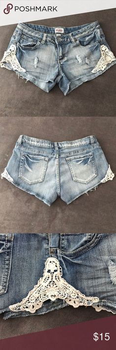 Mudd Shorts w/ Lace Detail Size 11 Mudd shorts with lace detail. One of my most beloved pair. It honestly hurts my heart that these do not fit anymore!!💔  Their worn in which makes them even more perfect!  Someone will be lucky to own these! Mudd Shorts Jean Shorts