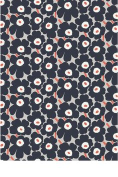 Maija Sofia Isola fabric design, Unikko 1964 for Marimekko Marimekko Wallpaper, Marimekko Fabric, Textile Patterns, Color Patterns, Floral Patterns, African Textiles, Japanese Patterns, Floral Fabric, Cotton Fabric