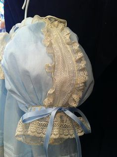 Nancy's Heirloom Shoppe, Creations, Greenville, AL:  Sleeve detail of Beautiful Blue Dress - Rows of ecru lace with gathered lace on the edge.