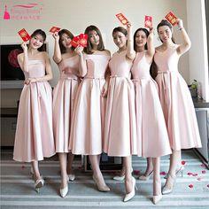 Pink Tea Length Bridesmaid Dresses Simple Satin Cheap African Fashion Vestidos  De Festa Wedding Party Gown Maid Honor ZB009 f88603e85632