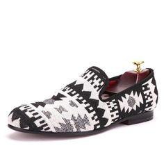 073e7e4b264 Piergitar Black And White Cotton Fabric Splicing Men Retro Winter Loafers