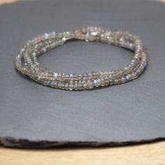 Long Labradorite Beaded Necklace in by EllaArtisanJewellery