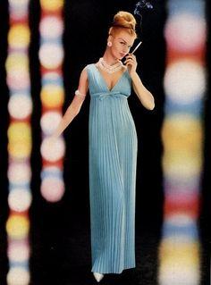 Empire waisted, pleated gown by Nina Ricci. 1960.