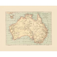 Vintage wall map of Australia. Map art for home interior design. Handmade paper print.