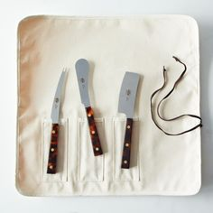 This set of three covers all the basics, with a knife for semi-soft cheeses, a knife for soft cheeses, and a spreader too.